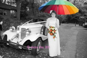 Rainy day wedding photo fun
